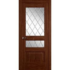 Межкомнатная дверь Мебель-Массив Болонья 2 Коньячный дуб без патины полотно с остеклением витраж с гравировкой