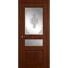 Межкомнатная дверь Мебель-Массив Болонья 2 Коньячный дуб без патины полотно с остеклением витраж заливной