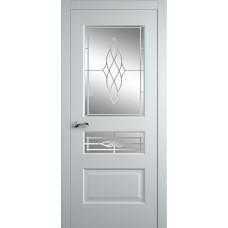 Межкомнатная дверь Мебель-Массив Болонья 2 Эмаль белая патина полотно с остеклением витраж пескоструй