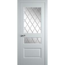 Межкомнатная дверь Мебель-Массив Болонья 2 Эмаль белая на дубе без патины полотно с остеклением витраж с гравировкой
