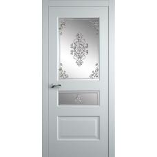 Межкомнатная дверь Мебель-Массив Болонья 2 Эмаль белая патина полотно с остеклением витраж заливной