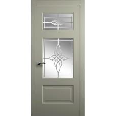 Межкомнатная дверь Мебель-Массив Болонья 3 Эмаль RAL 7044 без патины полотно с остеклением витраж пескоструй