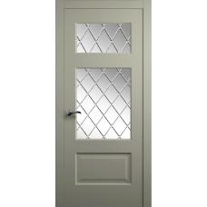 Межкомнатная дверь Мебель-Массив Болонья 3 Эмаль RAL 7044 без патины полотно с остеклением витраж с гравировкой