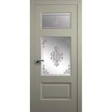 Межкомнатная дверь Мебель-Массив Болонья 3 Эмаль RAL 7044 без патины полотно с остеклением витраж заливной