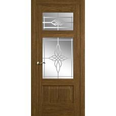 Межкомнатная дверь Мебель-Массив Болонья 3 Светлый дуб без патины полотно с остеклением витраж пескоструй