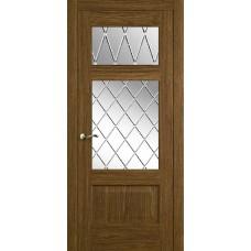 Межкомнатная дверь Мебель-Массив Болонья 3 Светлый дуб без патины полотно с остеклением витраж с гравировкой