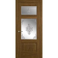 Межкомнатная дверь Мебель-Массив Болонья 3 Светлый дуб без патины полотно с остеклением витраж заливной