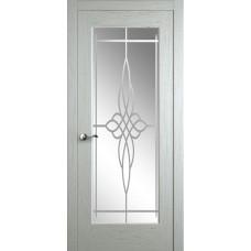 Межкомнатная дверь Мебель-Массив Болонья 4 Эмаль RAL 9010 без патины полотно с остеклением витраж пескоструй