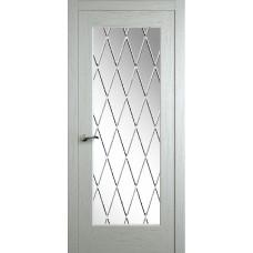 Межкомнатная дверь Мебель-Массив Болонья 4 Эмаль RAL 9010 без патины полотно с остеклением витраж с гравировкой