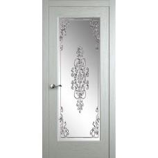 Межкомнатная дверь Мебель-Массив Болонья 4 Эмаль RAL 9010 без патины полотно с остеклением витраж заливной