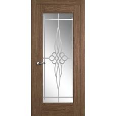 Межкомнатная дверь Мебель-Массив Болонья 4 Коньячный дуб без патины полотно с остеклением витраж пескоструй