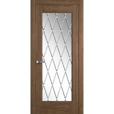 Межкомнатная дверь Мебель-Массив Болонья 4 Коньячный дуб без патины полотно с остеклением витраж с гравировкой