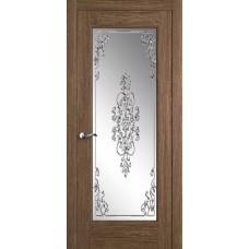 Межкомнатная дверь Мебель-Массив Болонья 4 Коньячный дуб без патины полотно с остеклением витраж заливной
