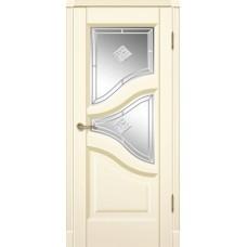Межкомнатна дверь Мебель-Массив Глория Эмаль слоновая кость патина полотно с остеклением витраж с гравировкой
