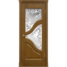 Межкомнатна дверь Мебель-Массив Глория Африканский орех без патины полотно с остеклением витраж пескоструй