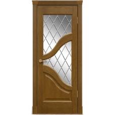 Межкомнатна дверь Мебель-Массив Глория Африканский орех без патины полотно с остеклением витраж с гравировкой