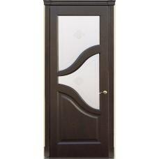 Межкомнатна дверь Мебель-Массив Глория Темный дуб без патины полотно с остеклением витраж с гравировкой