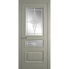 Межкомнатная дверь Мебель-Массив Гранада Эмаль RAL 7044 без патины полотно с остеклением витраж пескоструй