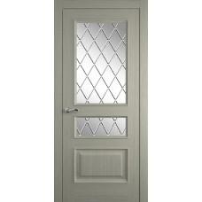 Межкомнатная дверь Мебель-Массив Гранада Эмаль RAL 7044 без патины полотно с остеклением витраж с гравировкой