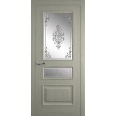 Межкомнатная дверь Мебель-Массив Гранада Эмаль RAL 7044 без патины полотно с остеклением витраж заливной