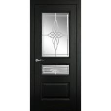 Межкомнатная дверь Мебель-Массив Гранада Эмаль RAL 9005 без патины полотно с остеклением витраж пескоструй