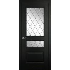 Межкомнатная дверь Мебель-Массив Гранада Эмаль RAL 9005 без патины полотно с остеклением витраж с гравировкой