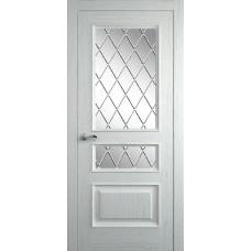 Межкомнатная дверь Мебель-Массив Гранада Эмаль RAL 9010 без патины полотно с остеклением витраж с гравировкой