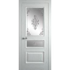 Межкомнатная дверь Мебель-Массив Гранада Эмаль RAL 9010 без патины полотно с остеклением витраж заливной