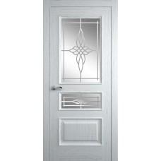 Межкомнатная дверь Мебель-Массив Гранада Эмаль белая на дубе без патины полотно с остеклением витраж пескоструй