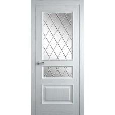 Межкомнатная дверь Мебель-Массив Гранада Эмаль белая на дубе без патины полотно с остеклением витраж с гравировкой