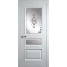 Межкомнатная дверь Мебель-Массив Гранада Эмаль белая на дубе без патины полотно с остеклением витраж заливной