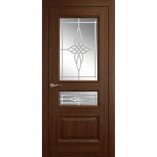 Межкомнатная дверь Мебель-Массив Гранада Коньячный дуб без патины полотно с остеклением витраж пескоструй