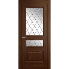 Межкомнатная дверь Мебель-Массив Гранада Коньячный дуб без патины полотно с остеклением витраж с гравировкой