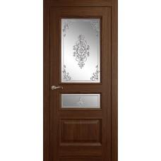 Межкомнатная дверь Мебель-Массив Гранада Коньячный дуб без патины полотно с остеклением витраж заливной