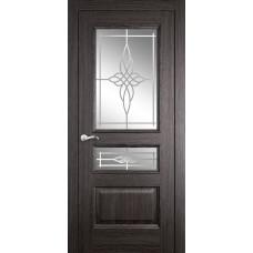 Межкомнатная дверь Мебель-Массив Гранада Пепельный дуб без патины полотно с остеклением витраж пескоструй