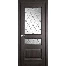 Межкомнатная дверь Мебель-Массив Гранада Пепельный дуб без патины полотно с остеклением витраж с гравировкой
