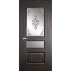 Межкомнатная дверь Мебель-Массив Гранада Пепельный дуб без патины полотно с остеклением витраж заливной