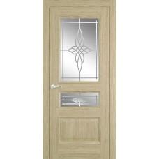 Межкомнатная дверь Мебель-Массив Гранада Шампань дуб без патины полотно с остеклением витраж пескоструй