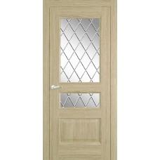Межкомнатная дверь Мебель-Массив Гранада Шампань дуб без патины полотно с остеклением витраж с гравировкой