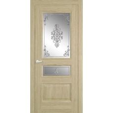 Межкомнатная дверь Мебель-Массив Гранада Шампань дуб без патины полотно с остеклением витраж заливной