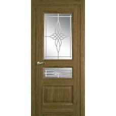 Межкомнатная дверь Мебель-Массив Гранада Светлый дуб без патины полотно с остеклением витраж пескоструй