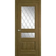 Межкомнатная дверь Мебель-Массив Гранада Светлый дуб без патины полотно с остеклением витраж с гравировкой