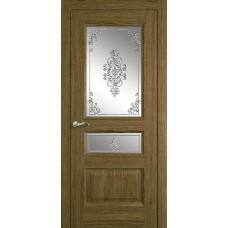 Межкомнатная дверь Мебель-Массив Гранада Светлый дуб без патины полотно с остеклением витраж заливной