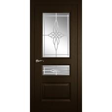 Межкомнатная дверь Мебель-Массив Гранада Темный дуб без патины полотно с остеклением витраж пескоструй