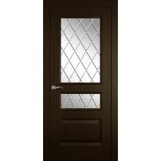 Межкомнатная дверь Мебель-Массив Гранада Темный дуб без патины полотно с остеклением витраж с гравировкой
