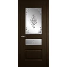 Межкомнатная дверь Мебель-Массив Гранада Темный дуб без патины полотно с остеклением витраж заливной