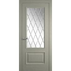 Межкомнатная дверь Мебель-Массив Гранада 2 Эмаль RAL 7044 без патины полотно с остеклением витраж с гравировкой