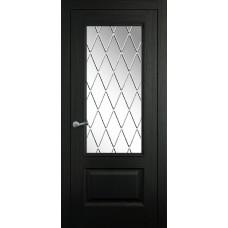 Межкомнатная дверь Мебель-Массив Гранада 2 Эмаль RAL 9005 без патины полотно с остеклением витраж с гравировкой