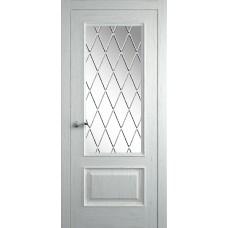 Межкомнатная дверь Мебель-Массив Гранада 2 Эмаль RAL 9010 без патины полотно с остеклением витраж с гравировкой