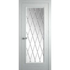 Межкомнатная дверь Мебель-Массив Гранада 3 Эмаль RAL 9010 без патины полотно с остеклением витраж с гравировкой